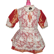 Fabulous Taffeta and Lace Dress for Antique French or German Doll