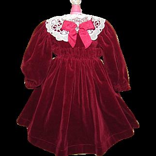"""Beautiful Burgundy Velvet Dress 17"""" Length for French or German Doll"""