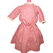 Original Antique Red and White Striped Doll Dress for German or French Antique Doll