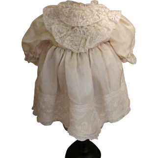 Darling Silk Dress With Lavish Lace Trim for French or German Antique Doll