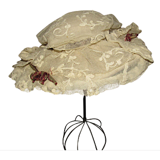 Fabulous Lace and Silk Wide Brimmed Hat for Antique French or German Doll