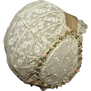 Beautiful Antique Lace and Silk Bonnet for Antique French or German Doll