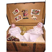 Antique Doll Trunk With Antique Baby Dolls and Content