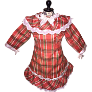 Red Tartan Plaid Dress for French or German Doll