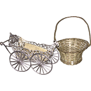 Wonderful Antique German Miniature Metal Doll Carriage and Basket