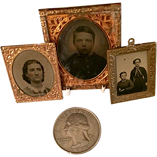 Three Miniature Mid-19th C Tintypes For Dollhouse or Doll Accessories