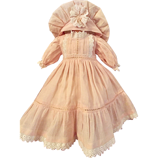 Darling Pale Pink Doll Dress and Hat for French or German Doll