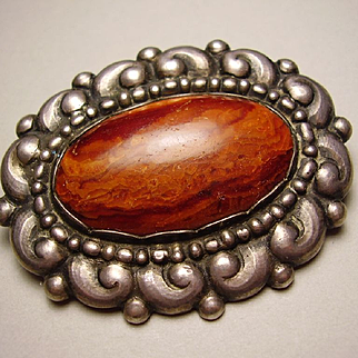 Evald Nielsen Skonvirke Danish 830 Silver Amber Brooch Pin