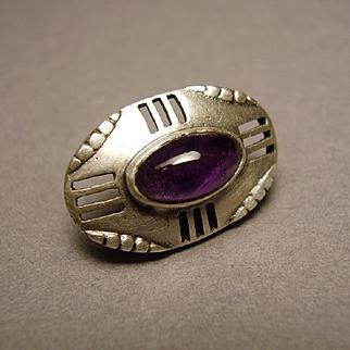 Theodor Fahrner Jugendstil Darmstadt 935 Silver Amethyst Button Cuff Link