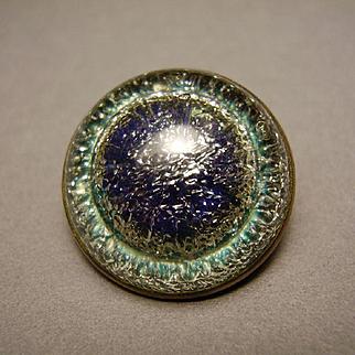 Art Nouveau Bohemian Foiled Art Glass Peacock Eye Cabochon Carbuncle Brooch Pin