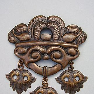 Skonvirke Danish Arts & Crafts Art Nouveau Jugendstil Bronze Brooch Pin