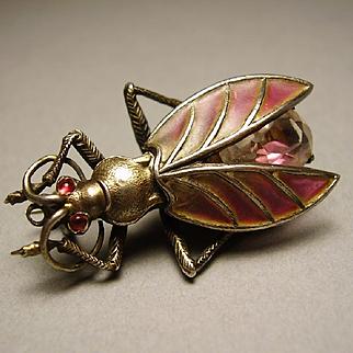 Meyle & Mayer Jugendstil Art Nouveau Plique a Jour Depose 900 Silver Beetle Insect Brooch Pin
