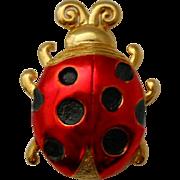 Vintage JJ Ladybug Lady Bird Brooch Pin Jonette