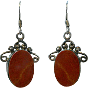 Vintage Red Jasper Sterling Silver Earrings