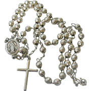 Vintage Sterling Faceted Bead Rosary Necklace Miraculous Medal Cross
