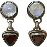 Vintage Sterling Moonstone Garnet Earrings Dangle