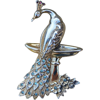 Vintage Theda Sterling Silver Peacock Brooch Pin
