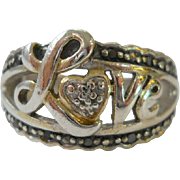 Vintage Sterling Silver LOVE Ring Size 8
