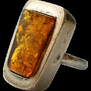 Vintage Modernist Amber Sterling Silver Ring Size 6