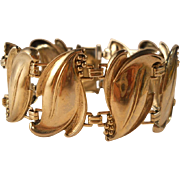 Vintage Leaves Bracelet Art Nouveau Revival Gilt Silver