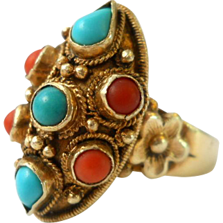Chinese Export Silver Turquoise Coral Ring Size 9