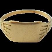 10K Gold Baby Signet Midi Ring Size 3 Vintage