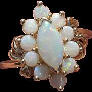 Vintage Opal 14K Gold Ring Hearts Size 9