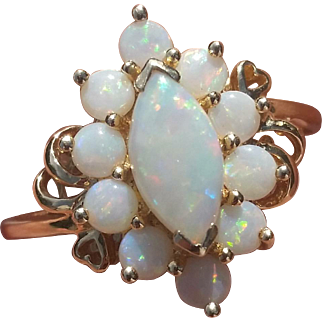 Vintage Opal 14K Gold Ring Hearts Size 9