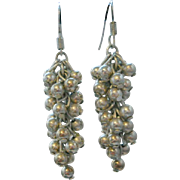 Vintage Silver Cha Cha Dangle Earrings Sterling Bead