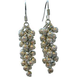 Sterling Cha Cha Bead Dangle Earrings Vintage Silver