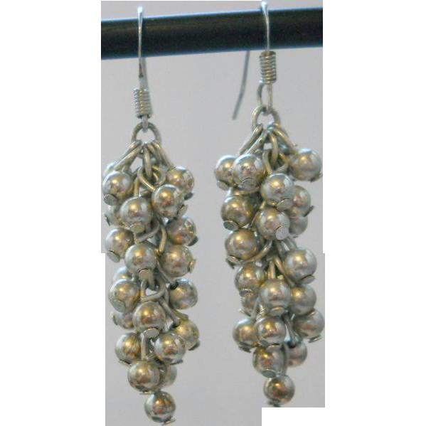 Vintage Silver Cha Cha Dangle Earrings Sterling Bead