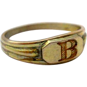 Antique Letter B Signet Midi Ring Baby 10K Yellow Gold