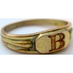 Antique Letter B Signet Midi Ring Baby 10K Yellow Gold