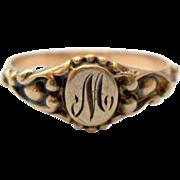 Antique Letter M Signet Midi Ring Baby Initial 10K Rose Gold