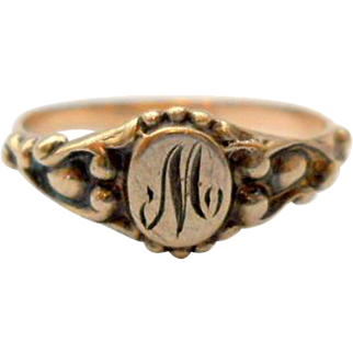 Antique Letter M Signet Midi Ring Baby Initial 10K Rose Gold