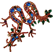 Vintage Dragon Serpent Brooch Pin Huge Rhinestone Beauty