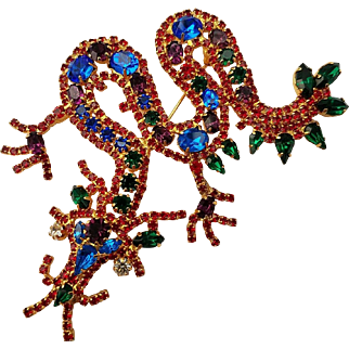 Vintage Dragon Serpent Brooch Pin Huge Rhinestone Beauty