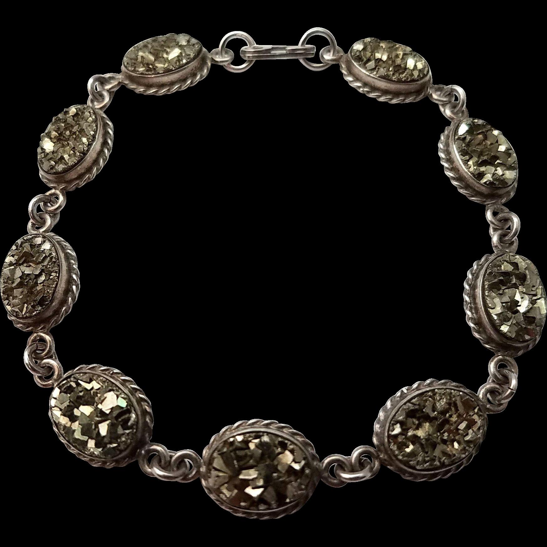 Art Deco Pyrite Sterling Silver Bracelet Vintage