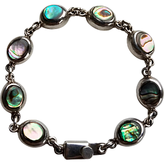 Vintage Taxco Abalone Sterling Silver Bracelet Mexico Link