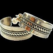 Vintage Sterling Hoop Earrings Native American Silver Ron Y