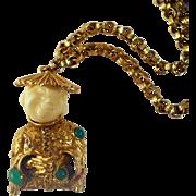 Vintage Happy Asian Man Pendant Necklace Mode Art Figural Book Piece