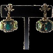 Vintage Cini Sterling Earrings Green Glass Rhinestone Baroque Style