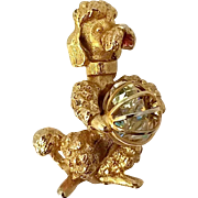 Vintage Roma Poodle Dog Brooch Pin Rhinestone Ball Figural