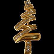 Vintage Monet Christmas Tree Figural Brooch Pin Zig Zag