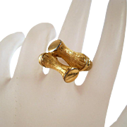 Vintage Avon Gold Tone Bamboo Ring Bypass Size 6 7