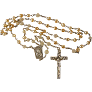 Vintage Sterling Silver Rosary Creed Cross Art Glass Beads