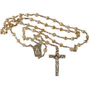 Vintage Sterling Rosary Art Glass Beads Creed Cross