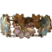 Vintage Sterling Abalone Flower Bracelet Mexico Shell Inlay