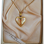 Vintage Heart Locket Necklace Gold Filled Original Box