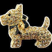 Vintage Scottie Dog Brooch Pin Monet Rhinestones